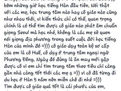 Học viên Dương Hồng Vân học tiếng Hàn Topik 5 đạt 217 tại trung tâm Ngoại ngữ phương Đông